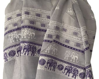 Grey Scarf with a Purple and White Elephant Print, Gray Elephants Cotton Blend Wrap