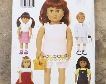 """doll clothing pattern-Butterick pattern # 3491-American Girl pattern-18"""" girl doll pattern-18"""" boy doll pattern-summer outfit pattern-dress-"""