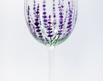 Lavender wine glasses Gift for mom Personalized wine glasses botanicals Garden party decor Mothers Day Gift Provence Decor Purple