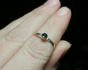 Blue Sapphire Stackable Ring | Sterling Silver Ring Sz 7.25 | Blue Sapphire Ring | September Birthstone Ring | Blue Sapphire Stack Ring