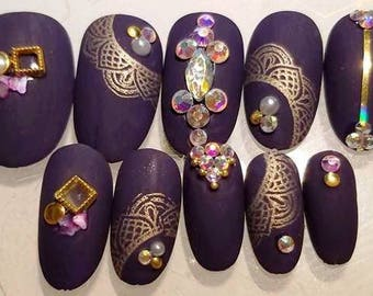 Press on Nails Purple Matte Opulence