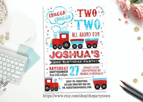 Train birthday party invitations train invite chugga chugga choo il570xn filmwisefo