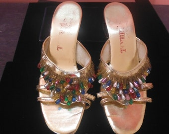 Gold Beaded Sandals, by Tommi of Hawaii, 7M, Vintage 1960's - 1970's