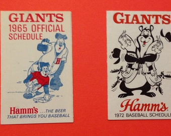 2, SCARCE, Vintage, 19665/1972 Hamms/Giants baseball scedules
