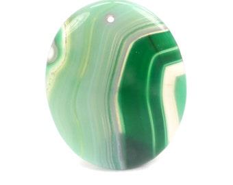 Green Onyx Agate Pendant, Kelly Green Gemstone Focal Bead G1005