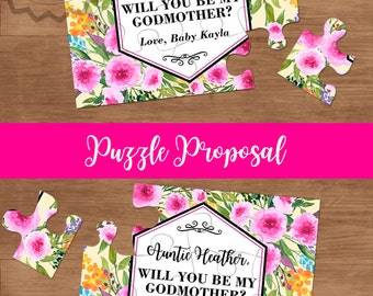 Will You Be My Godmother Puzzle Card, Christening Card, Godmother Proposal, Ask Godparents, Demande Marraine, Be My Godmother Proposal Gift