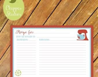 Instant Download- Vintage Inspired Recipe Card. Recipe Card for Bridal Shower. Kitchen Bridal Shower. Downloadable Recipe Cards. Menu Cards