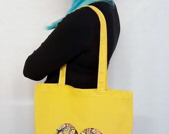 Folk Art Tote Bag Scandi Bag Scandanavian Nordic Tote Bag Mustard Tote Bag Russian Folk Art Boho Hippy Gypsy