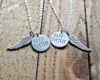 Soul Sisters Necklace Set - Friendship Necklaces - Sister Necklaces - Angel wing Necklace - Custom Necklace Set