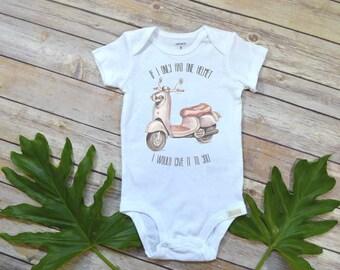 Cute Baby Gift, Macklemore Shirt, Baby Shower Gift, Moped shirt, Funny Baby Gift, Scooter Shirt, Nephew Gift, Newborn gift, Gifts under 20