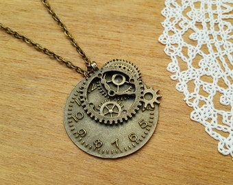 Vintage Style Bronze Tone Necklace with Pendant Clock parts, Steampunk Necklace