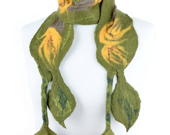 Spring felt scarf in fresh green with felted leaves and yellow flowers - lightweight and breathable spring & summer scarf for women [S40]