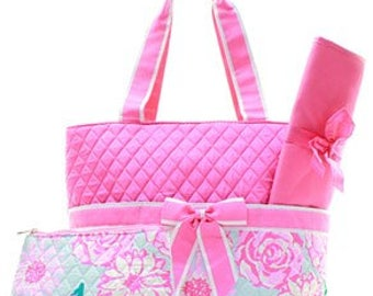 Personalized Floral Quilted 3 Piece Diaper Bag Set, Custom Diaper Bag, Embroidered Diaper Bag, Personalized Diaper Bag, Baby Gift, Baby bag