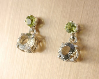 Oregon Sunstone and Peridot Dangle Earrings Sterling Silver