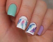 Watercolor gradient feathers nail decals/ Feathers nail stickers/ Nail water decals/ Feathers nail decorations/ Nail art/ DS271