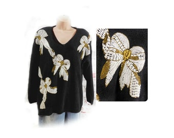 beaded sweater - formal sweater - V neck sweater - black party sweater - pin up sweater - Medium sweater # 9