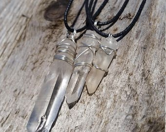 Quartz Point Wire Wrapped Pendant in Sterling Silver 925