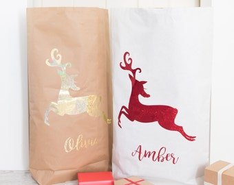 Christmas Santa Sack - Paper Sack with Reindeer Snowflake - Personalised Christmas Sack-Christmas Present Container