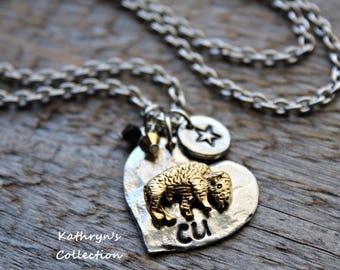 Colorado Buffalo Necklace, University of Colorado, Colorado Buffs, Buffalo Jewelry, Buffalo Mascot