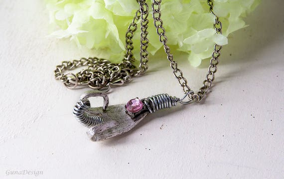 Vintage Fork Pendant with Pink Faceted Glass Bead