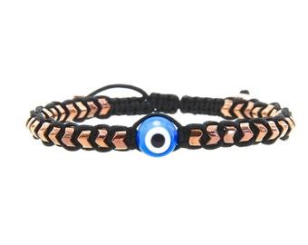 Special Design Hematite Gemstone, Evil Eye, Rosy Hematite Macrame Bracelets, Mala,Yoga Jewelry,Mens Bracelet ,Mantra Beads,Matt Hematite