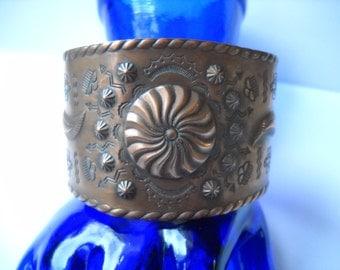 Vintage Copper Stamped Cuff Bracelet Wide 1960s 1970 Raised Stamped Symbols Southwestern Tribal Wide