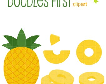Pineapple Set Digital Clip Art for Scrapbooking Card Making Cupcake Toppers Paper Crafts