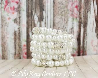 Chunky Pearl Bracelet Bridal Bracelet Pearl Cuff Bracelet Wrap Crystal Bridal Bracelet Ivory Pearl Wedding Bracelet Statement Bridal Jewelry