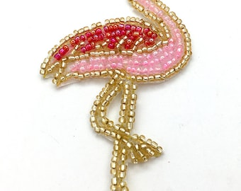 "Flamingo with Pink Sequins and Gold Beads  2.5"" x 2""  -43181"