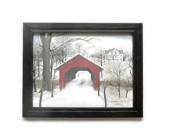 To Grandmothers House We Go, Billy Jacobs, Covered Bridge, Holiday Decor, Wall Hanging, Handmade, 19x15, Custom Wood Frame, Made in the USA