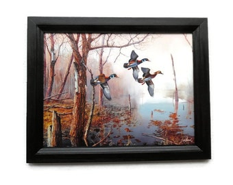 Mallard Ducks Picture, Backwater, Jim Hansel Art, Art Print, Cabin Decor, Wall Hanging, Handmade, 19X15, Custom Wood Frame, Made in the USA