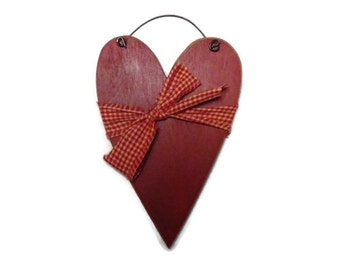 Valentine Heart, Primitive Heart, Simple Prim Heart, Primitive Decor, Wall Hanging, Handmade, 8 X 5 Real Birch Wood Heart, Made in the USA