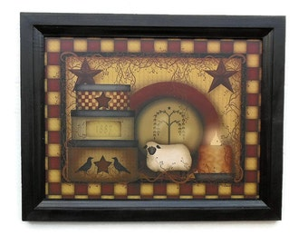 1887 Primitive Design, Primitive Decor, Country Decor, Stars, Sheep, Art Print, Wall Hanging, Handmade, 19x15 Custom Wood Frame, Made in USA