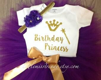 Girls BIRTHDAY PRINCESS Birthday Tutu Set, Purple  Gold Birthday Set, Purple and Gold  Birthday Tutu Shirt Outfit with Headband