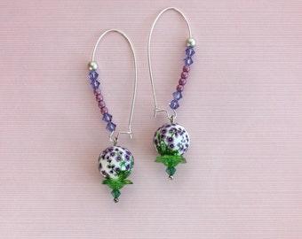 """Long Earrings """" Bouquet de Violettes """""""