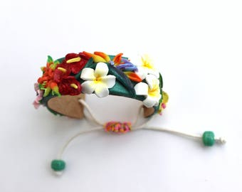Adjustable cuff bracelet, tropical Flowers, Jungle