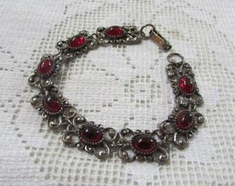 Vintage Florenza faux garnet link bracelet Estate find