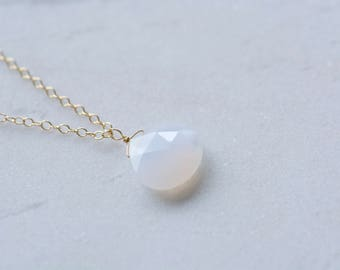 White Chalcedony Gemstone Necklace