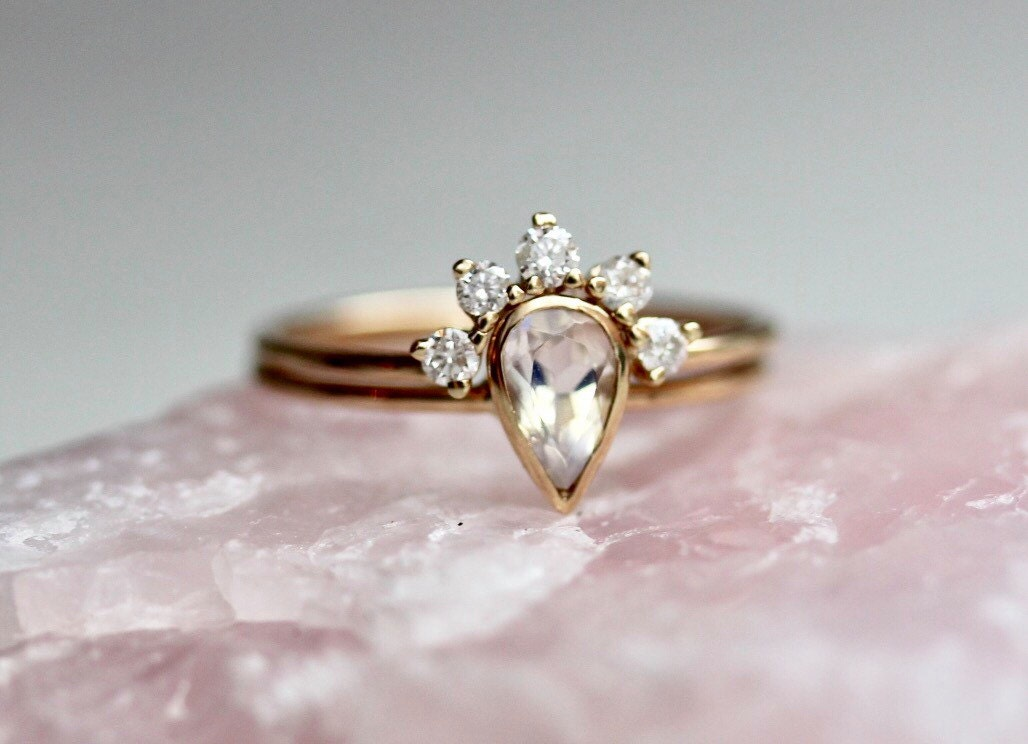 14k moonstone wedding set - Moonstone Wedding Ring