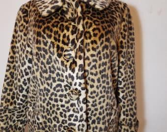 FREE  SHIPPING  1950 Leopard Fur Jacket