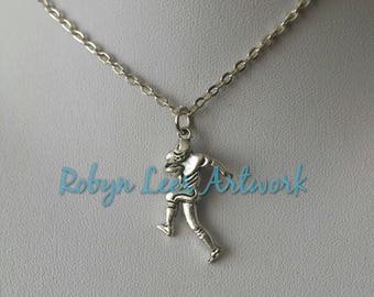 Small Silver American Football Rugby Player Charm Necklace on Silver Crossed Chain or Black Faux Suede Cord. Sports
