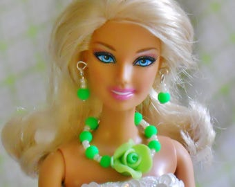Barbie Doll Jewelry, Necklace & Earring Set, Barbie Fashions, Beaded Jewelry