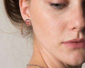 "1/2"" Pink Stud Earrings - Jewellery Handmade From Coral Pink Bermuda Sand Shells"