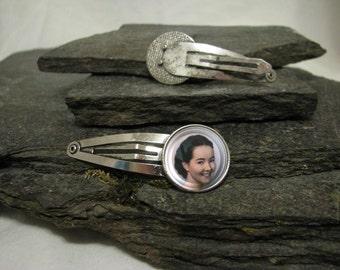 Photo Hair Clips, Photo Hair Barrettes or Photo Hair Pins, Photo Bobby Pins