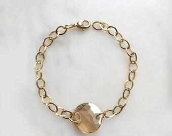 Simple Gold Crystal Bracelet/ Swarovski Crystal and Gold plated