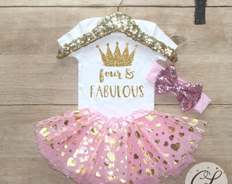Fourth Birthday Tutu Outfit / Baby Girl Clothes Four and Fabulous 4 Year Old Outfit Four Birthday Set 4th Birthday Girl Princess Crown 205