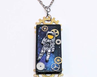 One of a kind mixed media statement assemblage necklace