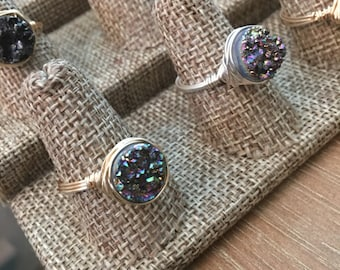 Rainbow Druzy Wire Wrap Ring / Druzzy/ Druzy/ Drusy -Qty 1