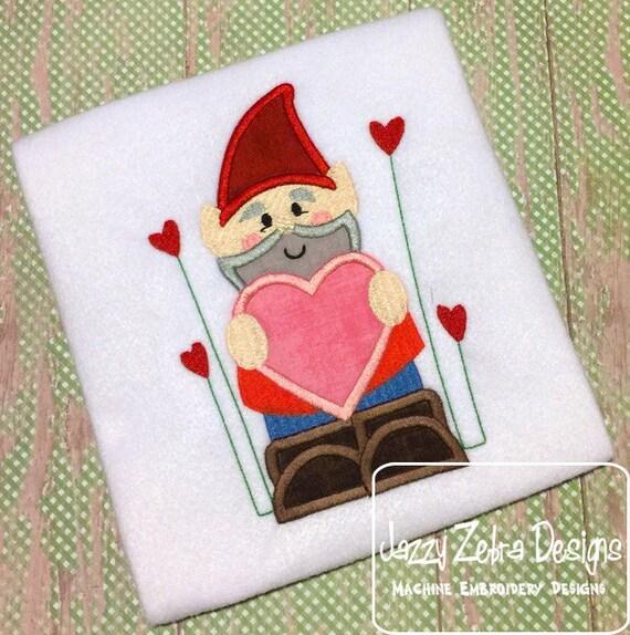 Gnome Valentine Applique Embroidery Design - Gnome applique design - Valentines day applique design