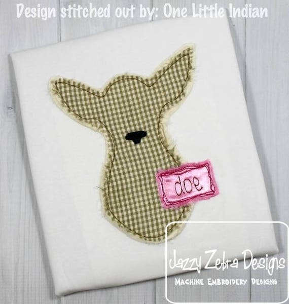 Shabby Chic Doe Appliqué design - doe appliqué design - vintage appliqué design - deer appliqué design - bean stitch appliqué design - girl